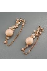 Orecchini corallo bamboo rosa, perle di fiume