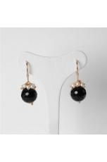 Orecchini, Agata nera-perle di f.