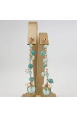 Orecchini, amazzonite, ossidiana, perle di fiume,