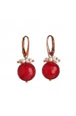 Orecchini, Giada  rosa, perle d. f.