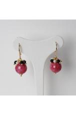 Orecchini, Giada rosa -perle