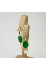 Or castone agata verde smeraldo, perla