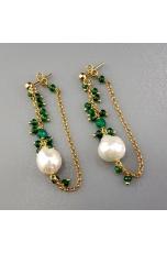 Or perla barocca, agata verde smeraldo