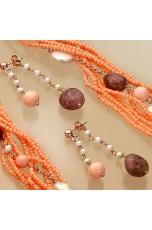 Orecchini perle di fiume, bamboo rosa, quarzo .cipria