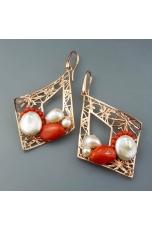 orecchini corallo bamboo rosso perle di fiume edizione limitata