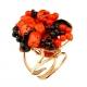 Anello corallo rosso agata nera pz unico