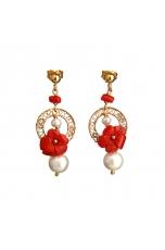 Orecchini corallo rosso, perle di fiume