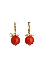 Or , corallo bamboo rosso, perle di fiume