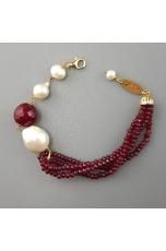 Bracciale agata ruby, perle di fiume barocche