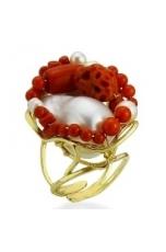 Anello corallo rosso perle coltivate acqua dolce pz unico