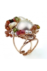 Anello perla barocca e tormalinepz unico