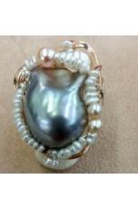 Anello perla barocca grigia, pele di fiume, pz unico