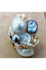 Anello perla barocca, perle di fiume, pz unico