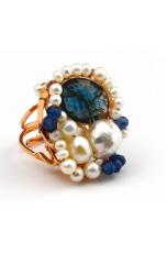 Anello perle barocche, agata zaffiro, pz unico