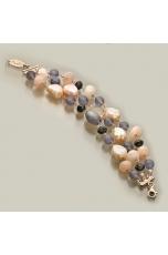 Bracciale a tre fili quarzo nuvola, quarzo cipria, perle di fiume