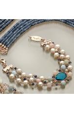 bracciale a tre fili, acquamarina multicolor, agata blu zaffiro, perle coltivate