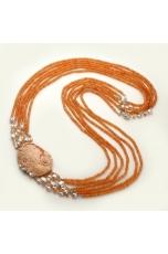 Chanel multifilo agata arancione, cammeo, perle di fiume