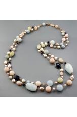 Collana a due fili acquamarina multicolor, perle di fiume