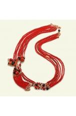 collana multifilo in corallo bamboo, corallo rosso, spinello nero, pz unico