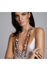 Collana multifilo, granato, perle di fiume, tormaline, pz unico