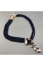 Collier agata blu zaffiro, perle coltivate, pz unico