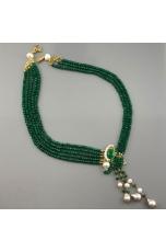 Collier agata verde smeraldo, perle coltivate, pz unico