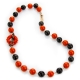 Collier corallo bamboo red, agata nera, spinello nero