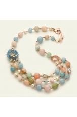 Collier multifilo acquamarina multicolor, perle coltivate