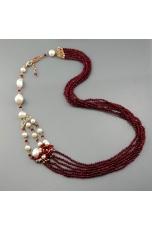 Collier agata ruby, perle coltivate