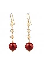 orecchini agata ruby perle coltivate