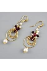 Orecchini, Agata ruby, perle coltivate, disco filigrana