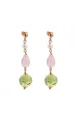 orecchini quarzo rosa-quarzo rutilato verde
