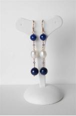 orecchini perle di fiume-agata blu zaffiro