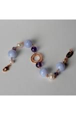 Bracciale calcedonio, ametista, perle di fiume