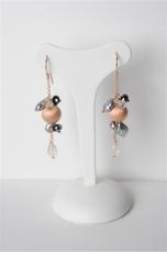 Orecchini quarzo rosa-perle coltivate-arg.925