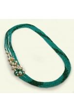 Collana agata verde smeraldo sfumata, perle coltivate