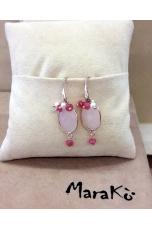 Orecchini quarzo rosa perle coltivate-argento