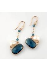 Orecchini perle coltivate, quarzo blue light