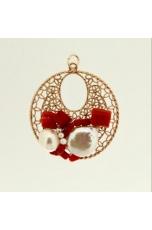Ciondolo corallo rosso, perle coltivate