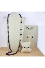 Charleston agata blu, perle coltivate, aquamarina milk