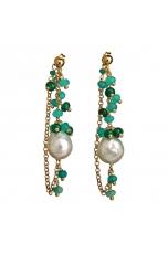 Orecchini perla barocca, agata verde smeraldo