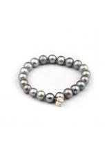 Bracciale perle coltivate  grigie, 10 mm