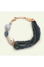 Br agata blu zaffiro, perla barocca,cianite, calcedonio