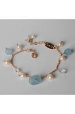 Bracciale charms, acquamarina, perle di fiume