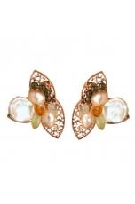 orecchini a clips perle coltivate quarzo citrino, quarzo verde
