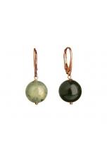 orecchini bicolor ossidiana e quarzo rutilato verde