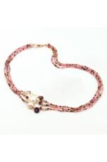 Collier  a 3 fili Tormaline perle coltivate