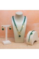 Collana regolabile in agata verde smeraldo