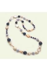 Chanel agata blu, calcedonio perle coltivate