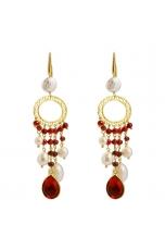 Orecchini agata ruby, perle coltivate